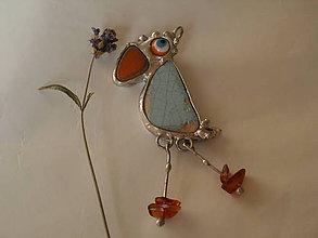 Náhrdelníky - Papagáj s jantárom - tiffany - 8491469_