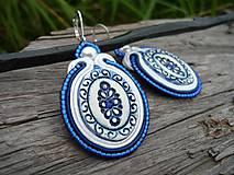 - Soutache náušnice FOLK oválky ornamenty..modrotlač - 8492828_