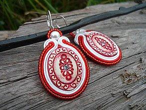 Náušnice - Soutache náušnice FOLK oválky ornamenty červené - 8492859_