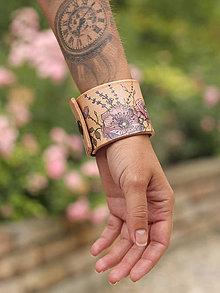 """Náramky - """"GlamourRosie"""" veľký a elegantný, ručne maľovaný kožený náramok - 8492460_"""