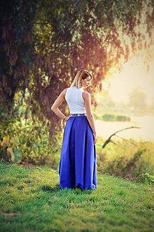 Sukne - MAXI sukňa s folklórnym pásom - 8491175_