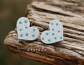 Náušnice - Heart dots mini // White/Tyrkys - 8491207_