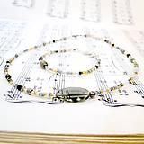 Golden-Grey Beads Necklace & Bracelet Set / Sada náhrdelníka a náramku v zlato - šedej kombinácii /0520