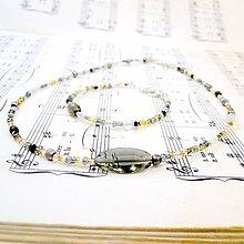 Sady šperkov - Golden-Grey Beads Necklace & Bracelet Set / Sada náhrdelníka a náramku v zlato - šedej kombinácii - 8496069_