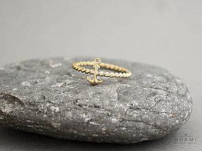 Prstene - 14k / 585 zlatý prsteň kotva - 8494376_