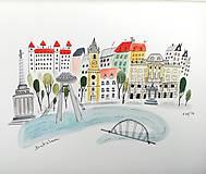 - Mesto Bratislava - ilustrácia obraz / originál maľba - 8495043_