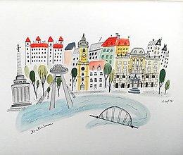 Obrazy - Mesto Bratislava - ilustrácia obraz / originál maľba - 8495043_