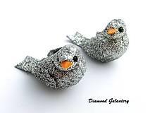 Galantéria - Ozdobný vtáčik strieborný - 8495321_