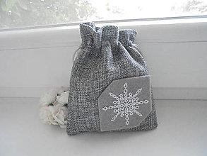 Taštičky - Darčekové vrecúško - snehová vločka - 8494203_