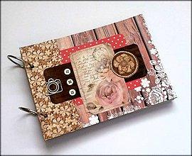 Papiernictvo - Vintage svadobný scrapbook album/ kniha hostí A5 - 8494018_