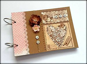 Papiernictvo - Vintage svadobný scrapbook album/ kniha hostí A5 - 8494129_