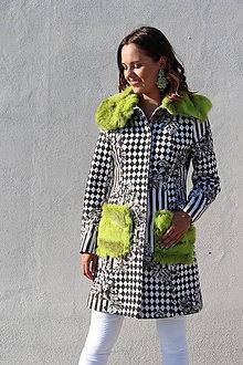 Kabáty - Originálny kabát s kožušinou - 8494596_