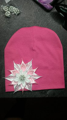 Detské čiapky - Detská čiapka so saténovým kvetom - 8495241_