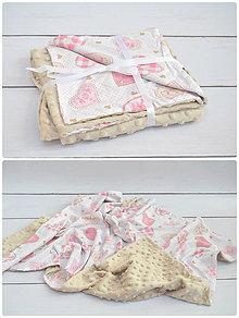 Úžitkový textil - Minky deka v hnedom - 8495695_
