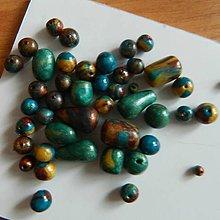 Korálky - Fimo-korálky zeleno-žlto-hnedé - 8496330_