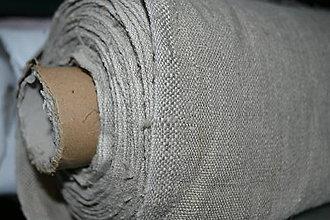 Textil - Metráž látok 100% ľan prírodný hrubší režný - 0,5 m - 8493272_