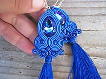 Teardrop with tassels...soutache (Blue/Sapphire AB)