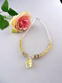 Náhrdelníky - citrín a krištál náhrdelník v striebre - 8497128_