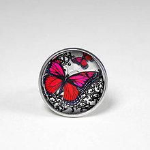 Prstene - Červený motýl - červenočierny prsteň - 8499380_
