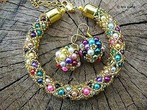 Sady šperkov - Náramok a náušničky COLORAMA GOLDEN NET - 8498155_