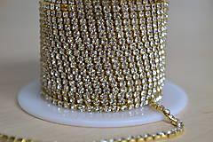 Štrasová borta zlatá crystal clear 2mm, 0.30€/10cm