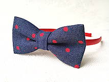 Ozdoby do vlasov - Blue jeans headband with red dots - 8501697_