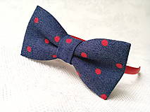 Ozdoby do vlasov - Blue jeans headband with red dots - 8501698_