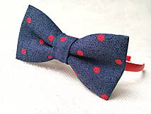 Ozdoby do vlasov - Blue jeans headband with red dots - 8501699_