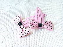Ozdoby do vlasov - Pin Up hair clips (pink/black dots) - 8502680_