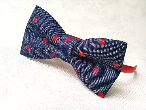 Blue jeans headband with red dots