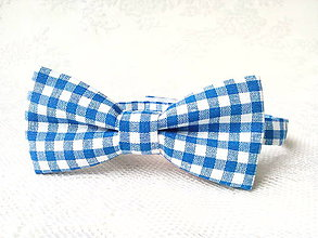 Detské doplnky - Kockovaný detský motýlik (modro-biely) - 8501521_