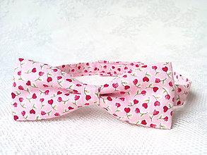 Detské doplnky - Detský romantický motýlik (ružový/kvety-srdiečka) - 8501548_