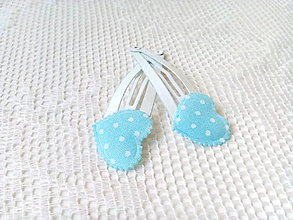 Ozdoby do vlasov - Pin Up hair clips (white/baby blue/white dots) - 8502654_