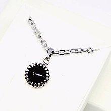 Náhrdelníky - Natural Black Agate Necklace Silver AG 925 Stainless Steel / Strieborný náhrdelník s príveskom čierneho achátu #0508 - 8502202_