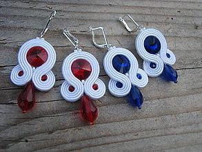Náušnice - White/Sapphire...soutache - 8502241_