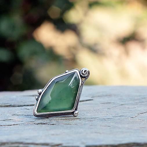 Strieborný prsteň - Zelený vŕšok