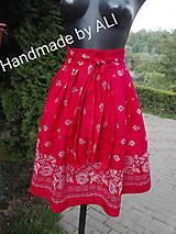 Sukne - Červená folková sukienka - 8499995_