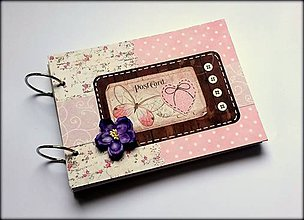 Papiernictvo - Vintage svadobný scrapbook album/ kniha hostí A5 - 8500857_
