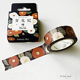 Papier - papierová washi páska Maľované kvety (15 mm x 7 m) - 8500942_