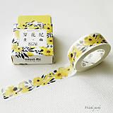 Papier - papierová washi páska Žlté kvety (15 mm x 7 m) - 8501182_