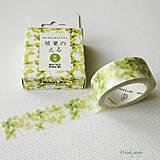 Papier - papierová washi páska Lístočky (15 mm x 7 m) - 8501471_