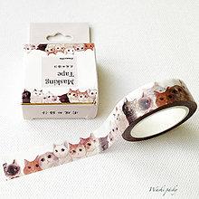 Papier - papierová washi páska Mačičky (15 mm x 7 m) - 8500552_