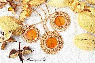 Sady šperkov - Sada medenej farby s korálkou - 8500853_