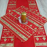 - Zlaté Vianoce v pásoch na červenej - obrus štvorec 41x41 - 8499906_