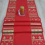 - Zlaté Vianoce v pásoch na červenej - stredový obrus 140x40 - 8501063_