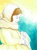Obrazy - Dievča s holúbkom, akvarel - 8500059_