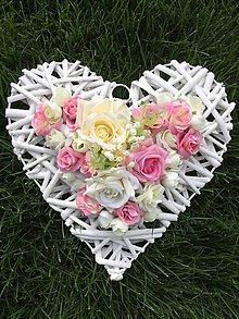 Dekorácie - Srdiečko s ružičkami - 8501350_