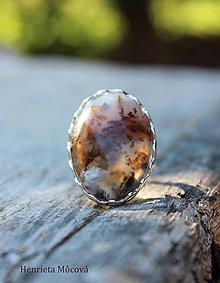 Prstene - strieborný prsteň s achátom (Pani jeseň) - 8501577_
