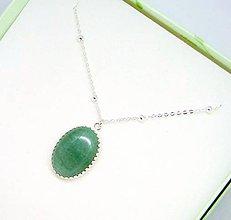 Náhrdelníky - Natural Green Aventurine Necklace Silver 925 / Strieborný náhrdelník s oválnym príveskom zeleného aventurínu /0513 - 8504533_