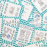 Detské doplnky - Miľníkové kartičky Turquoise Chevron 24ks - 8502913_